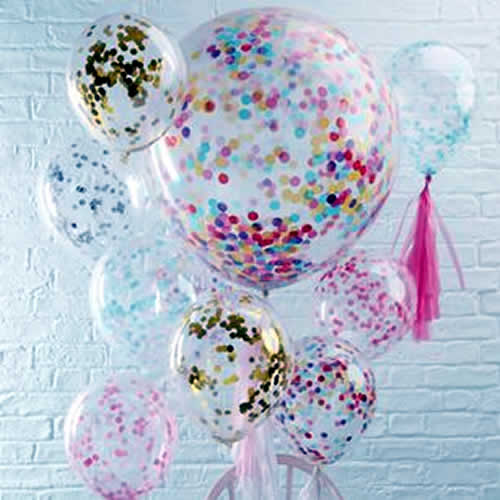 Shimmering glittery party balloons